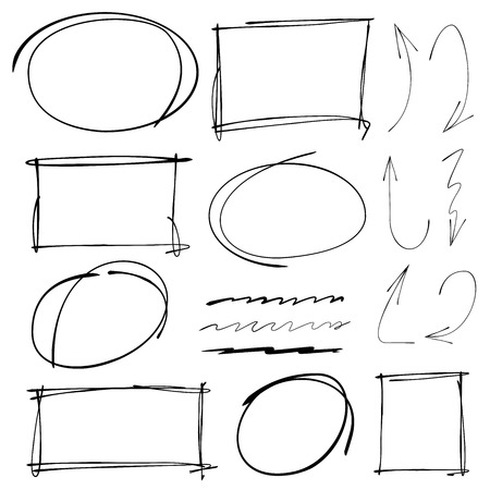 hand drawn markers, arrows, underlines