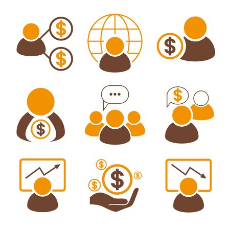 global finance: finance icons, office icons