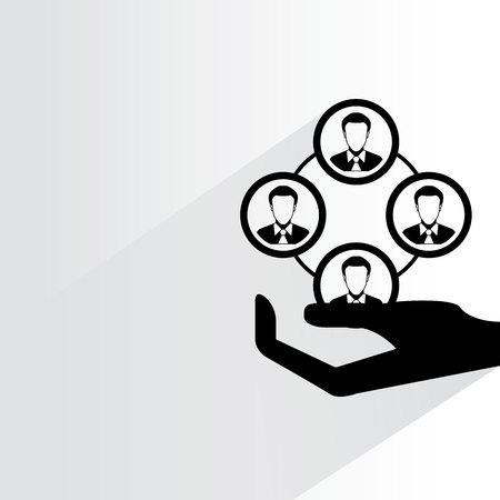 dispensation: hand holding people diagram