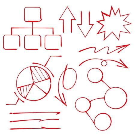 hand drawn marker elements, diagram