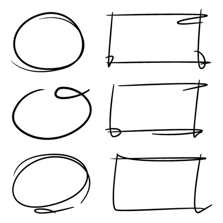 emphasis: hand drawn circle markers, rectangle markers Illustration