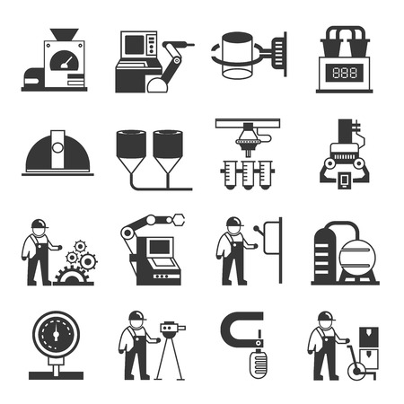 factory automation: industry and manufacturing icons Illustration