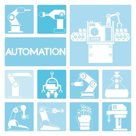 automation: robot icons, automation Illustration