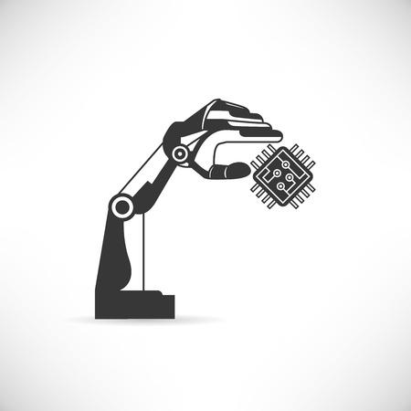 ロボットハンドとマイクロ チップ