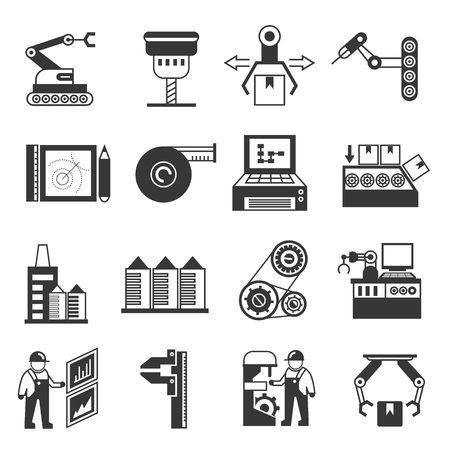 assembly line: manufacturing icons, robot in industrial work icons