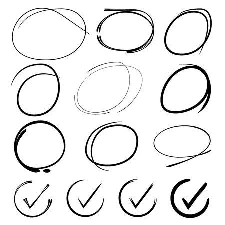 highlight: check mark icons,highlight circle Illustration