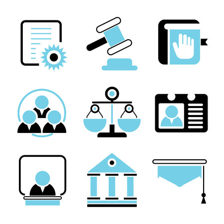 trial balance: law and justice icons Illustration