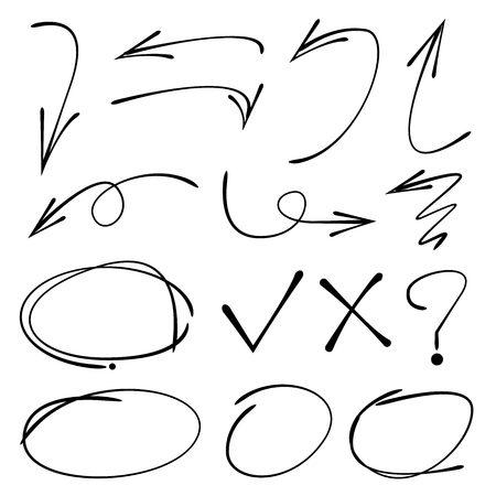 deletion: highlighter, circle, rectangle, arrow, underline, tick