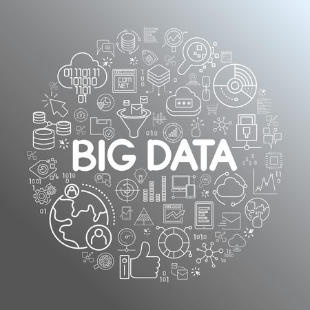 big data word on illustration concept Stock Illustratie