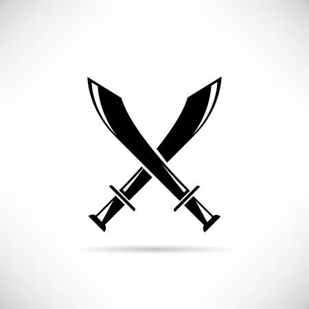 swordsmanship: crossing swords icon Illustration