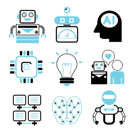 artificial: robot icons, Artificial Intelligence Illustration