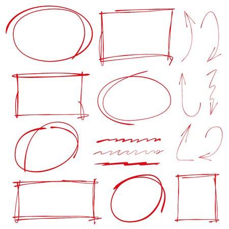 underline: red hand drawn frames, circle marker, underline