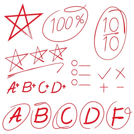 grades: hand draw vector grades results with circles, star Illustration