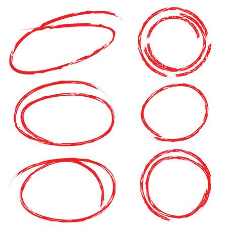 lapiceros: conjunto círculo detalle en color rojo