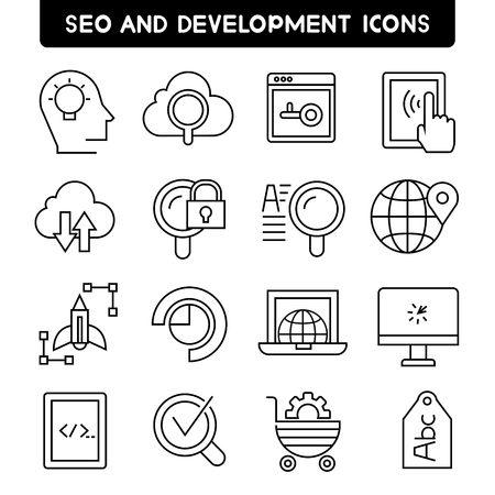 web development: seo and web development icons