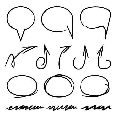 marker elementen, markeerstift, cirkel, rechthoek, pijlen