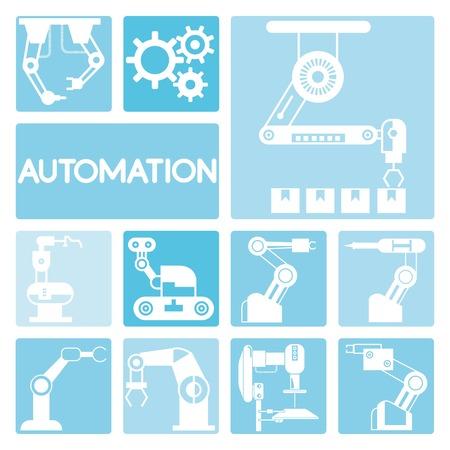 manufacturing: robotic icons Illustration