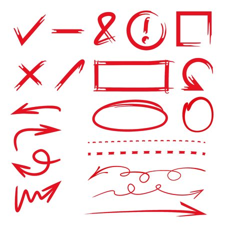 hand writing: highlighter elements; red frame, circle, underline, arrows