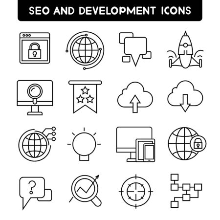 seo: seo and development icons