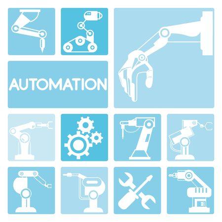 automation icons Vektoros illusztráció