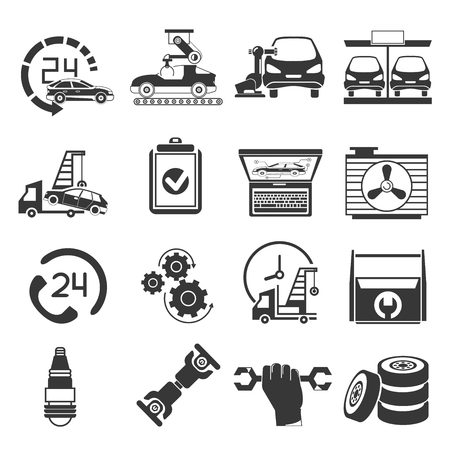 auto service: auto service icons, garage icons