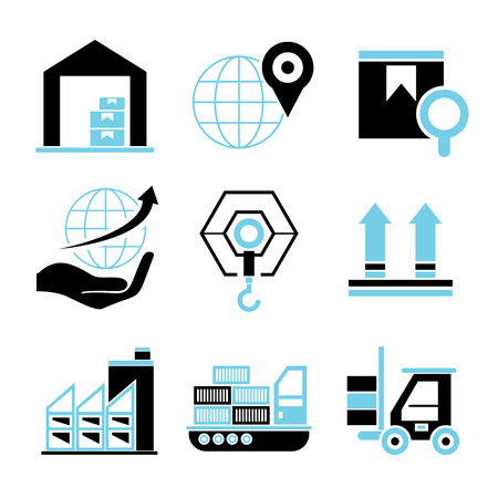 shipment tracking: shipping icons, warehouse icons