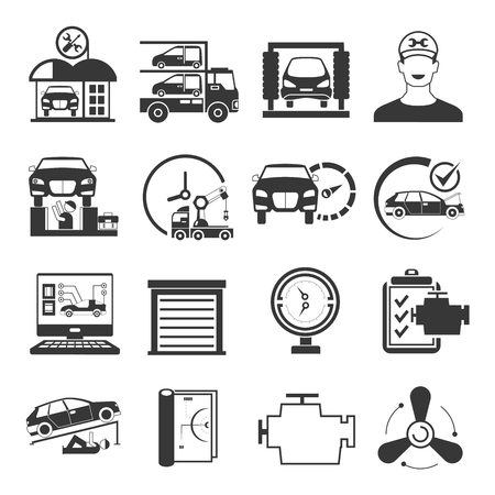 garage icons, car service icons