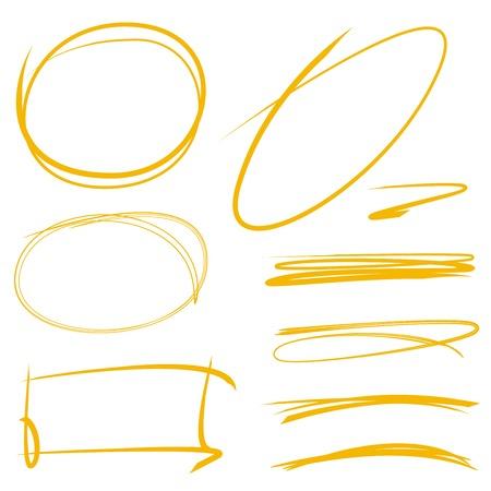 circle marker, underline marker, rectangle marker  イラスト・ベクター素材