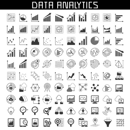 data analytics icons Stock Illustratie