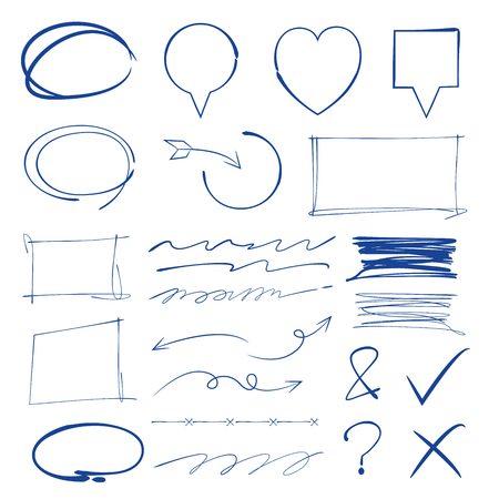 marker elementen, onderstrepen, vinkje, rechthoek marker