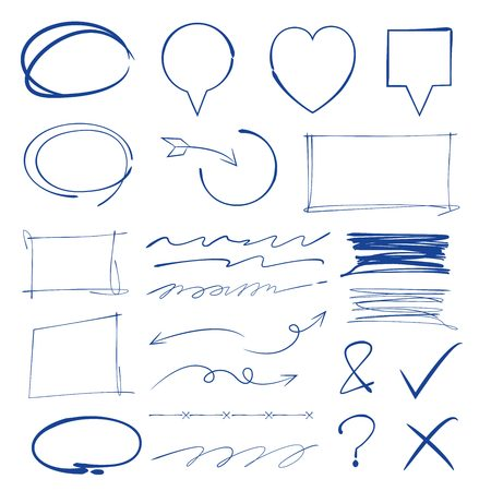 deletion: marker elements, underline, check mark, rectangle marker