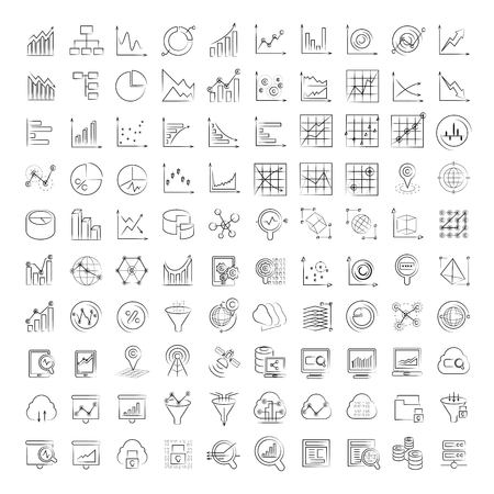 techology: data icons, graph icons, chart icons