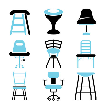 lounge room: chair icons Illustration