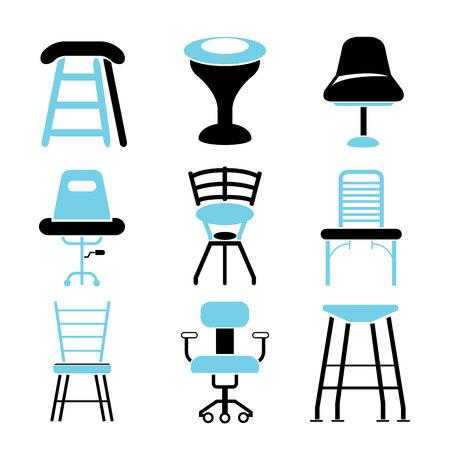 SILLA: iconos de silla Vectores