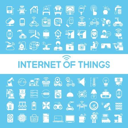 Internet de los objetos iconos, iconos de la tecnología inteligente