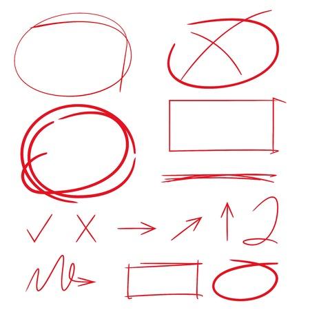 marker: destacando los elementos, casilla de verificación, círculos, flechas Vectores