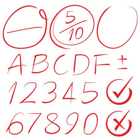 red hand: grade result, highlighter elements