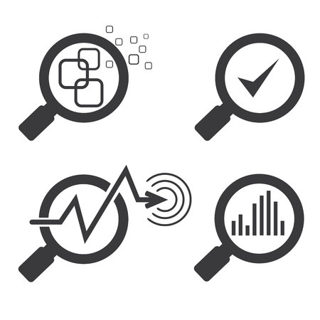 reviewing: magnifier glass and chart graph icons