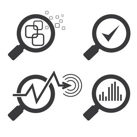 lupas: Vidrio de la lupa y la tabla de iconos de gráfico Vectores