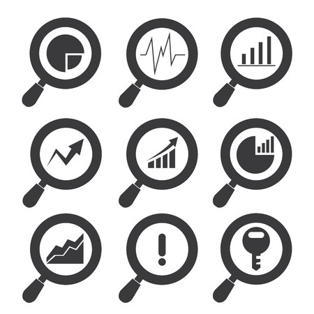sec: analysis icons, analytics icons, magnifier glass icons
