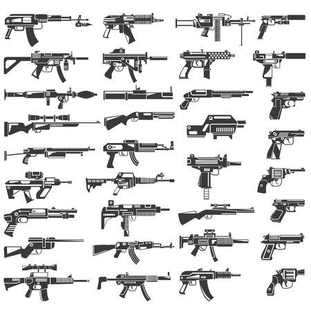 武器のコレクション、銃、機関銃、自動小銃  イラスト・ベクター素材