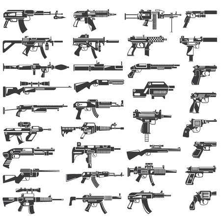 raccolta di armi, pistola, mitragliatrice, arma automatica Vettoriali