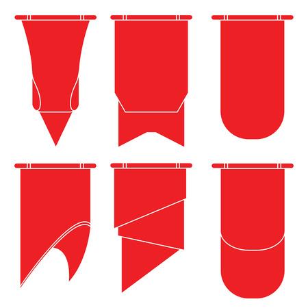 red flag up: red ribbons Illustration