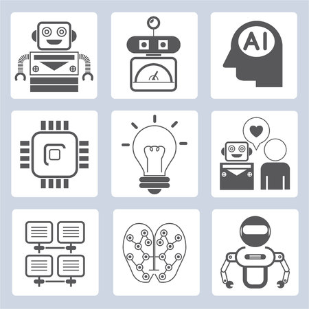 module: robot icons, Artificial Intelligence Illustration
