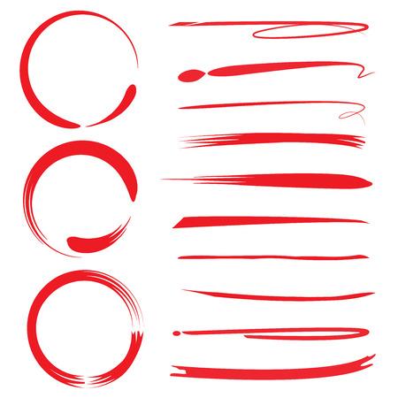 手描き蛍光ペン円、ブラシ線
