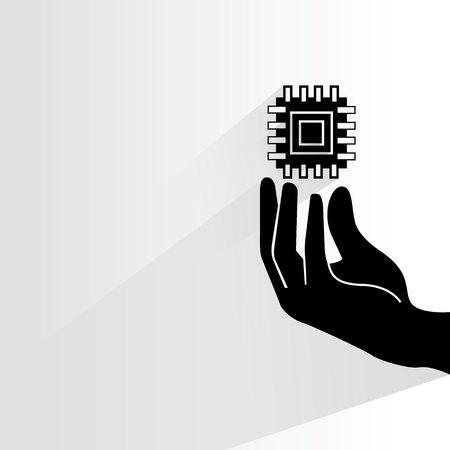 bytes: hand holding microchip