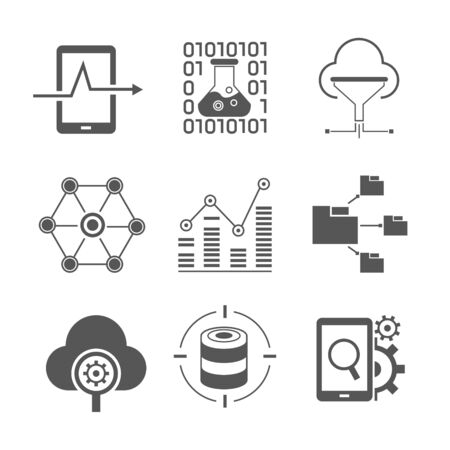 estimation: data and network icons Illustration
