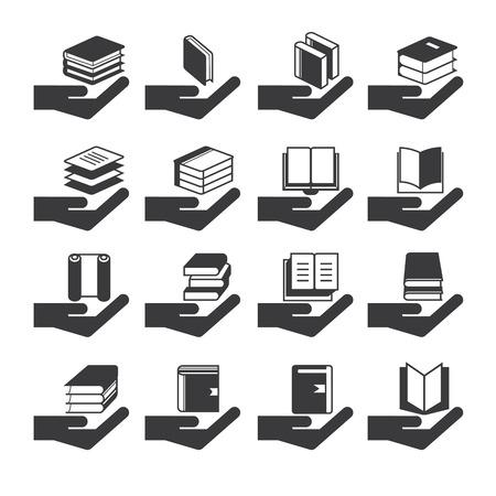 e reader: hand holding book icons Illustration