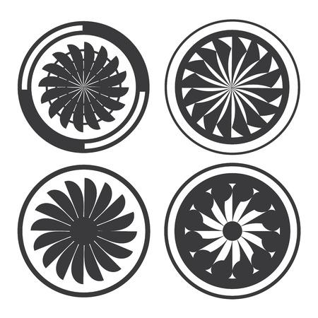 turbine: motor a reacción, la turbina Vectores