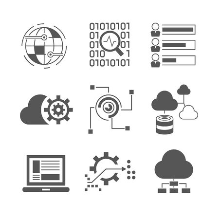 communication icons: network icons, data analytics icons Illustration